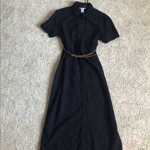 Dark blue denim short sleeve maxi dress